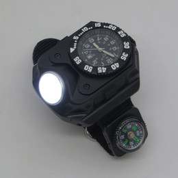 Wholesale Sport Climbing Compass Watch - HT-8118 3 in 1 Flashlight Torch Sports LED Watch Date Display with Canvas Band Compass Function Rechargeable Outdoor Bright Light Wristwatch