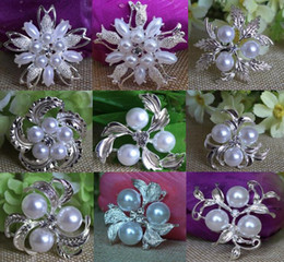 Wholesale Rhinestone Pearl Clusters - 9 styles Vintage Silver Tone Rhinestone Crystal Diamante and Faux Cream Pearl Cluster Large Bridal Bouquet Pin Brooch Jewelry
