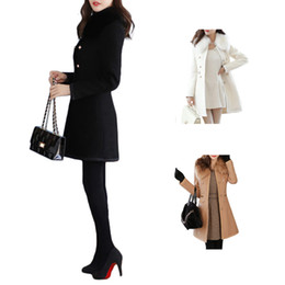 Wholesale Long White Trench Coats - S5Q Womens Wool Blends Overcoat Coat Slim Fit Trench Double Breasted Winter Long Section Jacket Parka AAAECY