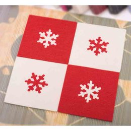Wholesale Wholesale Dining Placemats - Christmas Snowflake Table Placemats Art Decor Felt Insulation Pads Dining Coaster Festive Party Decoration Promotion SD732