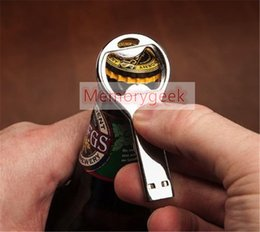 Wholesale Custom 32gb Usb - 32GB Metal bottle opener Beer Opener stainless steel waterproof custom logo USB 2.0 Flash Memory Pen Drives Sticks Disks Discs