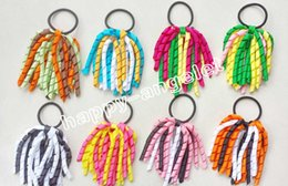 Wholesale Multi Color Rope - 20pcs Cheerleading hairband O A-korker Ponytail various color Corker curly ribbons streamers Cheer hair bows with elastic hair rope PD002