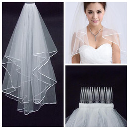 Wholesale Fashion Accessory Applique - Fashion Simple Cheap White Ivory Wedding Veil Ribbon Edge One Layer Wedding Accessory Bridal Veil Free Shipping 2015