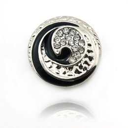 Wholesale Snaps Rhinestones - Brand New Fashion Snap Buttons Metal Black Edge Rhinestone DIY Ginger Snaps Noosa Clasps Jewelry Accessories