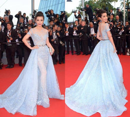Wholesale Celebrity Dresses Cannes - Red carpet Dress 2015 68th Cannes Bing Bing Short Sleeve Celebrity Dresses Backless Court Train Beading with Tulle Short Sleeve Light Blue
