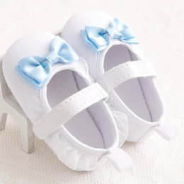 Wholesale Mary Toddler Shoes White - Cute White Bow Girls Baby Soft Soled Princess Shoes Infant Toddler Baby Girls Anti Slip First Walkers Mary Jane Shoes for Newborn 0-1T