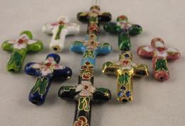 Wholesale beads colour - 300PCS Mixed colour cloisonne cross beads 27x19mm M458