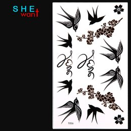 Wholesale Shop Tattoos - Wholesale- Free Shopping New Hot Style The Swallow Bird temporary tattoo Tattoo Stickers Waterproof Body art Painting