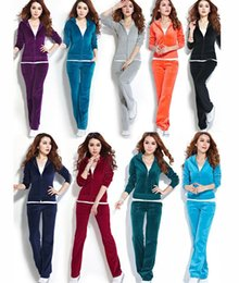 Wholesale Brown Velour Suit - Womens Velour Hoodie+Pant Tracksuit Sport Yoga Running Sweat Suit S-4XL 13 Color