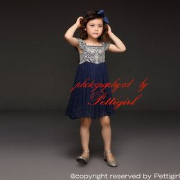 Wholesale Embroidery Bows Girls - Pettigirl 2017 Summer Navy Tulle Girl Dress With Embroidery Top Princess Dresses With Bow Belt Boutique Kids Clothing GD50611-3