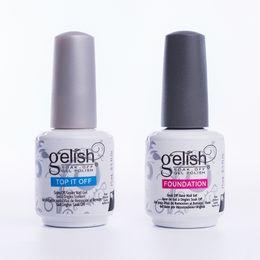 Wholesale Glitter Gel Nail Polish - Harmony Gelish UV Gel Nail Art Gelish 15ml UV Gel Glitter Primer & Top Coat Manicure Tips Soak Off Nail Polish UV Gel