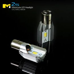Wholesale Headlights For Honda - Light Soucring Super Bright 6W*2 12W BA20D LED Headlight high Beam Low Beam For Motorcycle 6-80V
