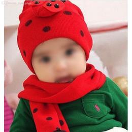 Wholesale Ladybug Gloves - Wholesale-Red Baby Boy Girl Toddler Winter Ladybird Ladybug Hat and Scarf Set Free Shipping