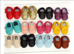 Wholesale Fedex Shipping Slip - Free Fedex EMS Ship 2015 New Tassels Style Baby Moccasins Soft Moccs Baby Shoes Kids 100% Genuine Cow Leather Newborn Baby Prewalker