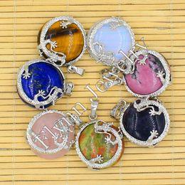 Wholesale Pendulum Balls - Natural Gem Stone Cabochon Bead Silver Plated Flat Dragon Ball Reiki Pendulum Pendant Charms Amulet Classic Jewelry 14pcs Mix
