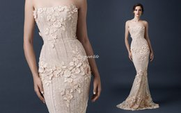 Wholesale Vintage Lace Flower Pearl - Exquisite Strapless Mermaid Evening Dresses Applique Beaded and Flowers Sweep Train Paolo Sebastian Celebrity Prom Gowns Occasion Dress 2016