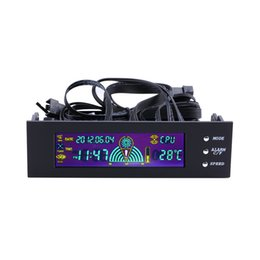 Wholesale Display Fan - Wholesale-LCD Panel CPU Fan Speed Controller Temperature Display 5.25 inch PC Fan Speed Controller