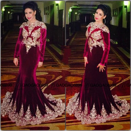 Wholesale Womens Celebrity Formal Dresses - Burgundy Muslim Celebrity Dresses 2016 New Formal Party Long Sleeve Mermaid Dubai Kaftan Formal Evening Dresses For Womens