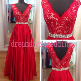 Wholesale Tuxedo Backless Dress - 2015 V Neck Red Beaded Lace A Line Prom Dresses Pearle Sequins Adult Prom Dresses Exquisite Ladies formal tuxedo Bridal Gowns