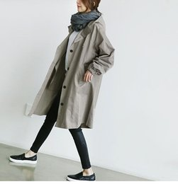 Wholesale women trench coat korean - 2017 Autumn Winter Trench Coats for women Korean style Loose Cotton Long sleeve Women Coats Black and Gray colors