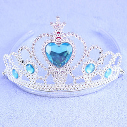 Wholesale Baby Stockings Heart - Elsa Anna Princess Crowns Heart Diamond Tiara Baby Girls Party Hair Accessories Cosplay Jewelry Frozen Crown Tiara 9 colors in stock