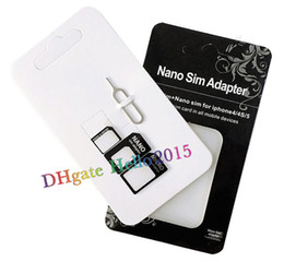 Wholesale Iphone5 Package - 4 in 1 Nano Sim Card Adapter + Sim Card Tray Eject Pin Key,Micro Sim adapter for iPhone5 5s 4 4s with retail package,DHL Fast Free Shipping