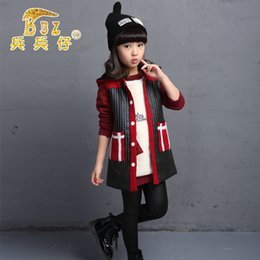 Wholesale girls knitting waistcoat vest - Wholesale-2016 fall and winter clothes new female big boy girls hooded jacket vest striped knit shirt large children's clothes