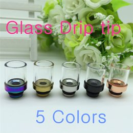 Wholesale Ego Ce5 Drip Tip Clear - Drip Tips of Metal Mouthpiece Pyrex Glass clear driptip Rainbow for Electronic Cigarette CE4 CE5 T3 glass atomizer Protank mods ego atomizer