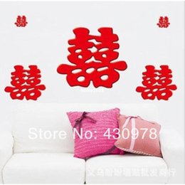 Wholesale Blessing Design - QZ1128 Free Shipping 2Pcs Chinese Festival Weeding Double Happiness Bless Removable PVC Wall Stickers Fancy Home Decoration Gift