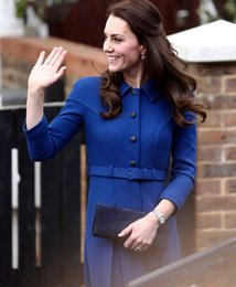 Wholesale Kate Coat - 2017 Spring New Kate Middleton Princess Coat Fashion A-Line blue OL Coat