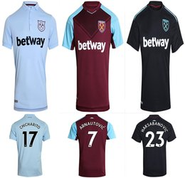 Wholesale West Home - 17 18 West Ham United home soccer jersey ARNAUTOVIC CHICHARITO CARROLL SAKHO 2017 2018 Top Thai quality West Ham United football shirt