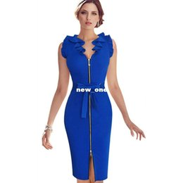 Wholesale Dress Frills - VfEmage Womens Elegant Frill Flounced Ruffle Neck Belted Bow Zipper Front Party Wear to Work Sheath Pencil Fitted Dress 1467
