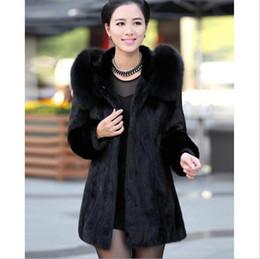 Wholesale Rabbit Fox Fur Collar Coat - New black imitation fur coat 2017 winter warm comfortable women clothing long jacket Imitation of rabbit fur fox fur fashion coat collar