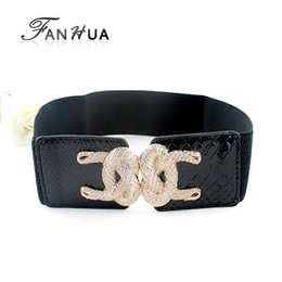 Wholesale Elastic Items - Hot Selling Wholesale Items Women's Black Pu Leather Distinctive Gold Plated Alloy Charm Elastic Belts Women Accessories