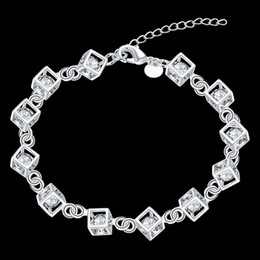 Wholesale Charm Hand Chain Bracelets - Charm bangle bracelets women 925 silver bracelet bridal jewelry sets fashion hand chain tennis friendship bracelets for women