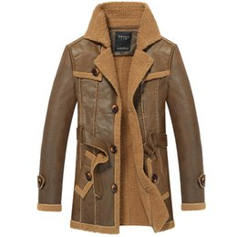 Wholesale Military Fur Coat Men - Fall-Free Shipping Mens Fur US Winter Warm Pilot Coat Outwear Military Style Bomber Long Style Leather Jacket