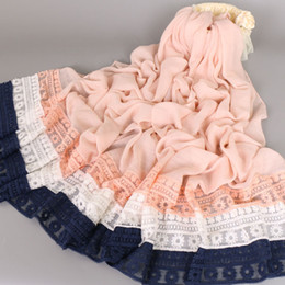 Wholesale Muffler Scarf Solid - Luxury lace Cotton shawls hot selling solid cotton hijab women wrap echarpes elegant muslin muffler scarves scarf Eid gifts Bs454