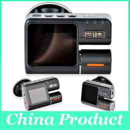 Wholesale Dual Lens Dashboard - Dual Lens Camcorder i1000 Car DVR Dual Camera HD 720P Dash Cam Black Box With Rear 2 Cam Vehicle View Dashboard Cameras 002780