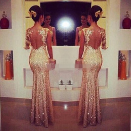 Wholesale Long Elegant Sequin Prom Gowns - 2015 Champagne Evening Dresses One Sleeve Long Sequins Evening Gowns Elegant Mermaid Formal Dress Party Evening Gowns New Arrival