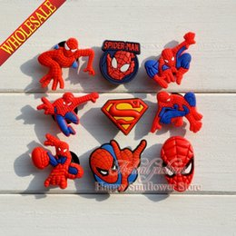 Wholesale Decorations For Kids Parties - 100pcs Mixed Spider Man Cartoon shoe charms accessories for shoe clog croc bracelet with hole,Shoe Ornament Kids party decoration Gifts