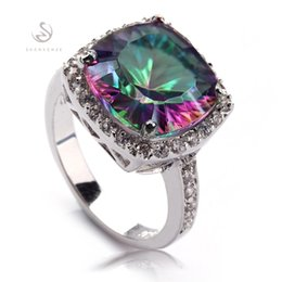 Wholesale Mystic Rainbow Rings - Promotion Trendy Fashion Rainbow Mystic stone cute Silver Plated RING R729 size6 9 Favourite Best Sellers