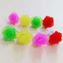 Wholesale Glow Toys Flower - 30pcs lot led light up finger ring toy glow rose flower finger ring wedding halloween party decaoation supplies led flower rings