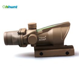 Wholesale Trijicon Illuminated - Tan Trijicon ACOG 4x32 Green Illuminated Crosshair .223 Ballistic Reticle Tactical rifle Scope For Air Gun Airsoft hunting