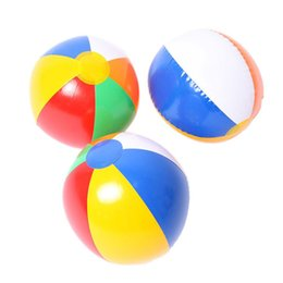 Wholesale Outdoor Balloons - Beach Ball 6 Colour Striped Rainbow Beach Ball Outdoor Beach Ball Water Sports Balloon Best Gift For Kids 23cm