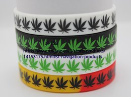 Wholesale Glow Patterns - Free Shipping 100 pcs Four different styles Silicone Rubber Bob Marley Maple Leaf bracelet Different Pattern Wristband Cuff Bracelet Jewelry