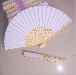Wholesale Japanese Painting Set - Chinese Fans Chinese Blank Paper Fan Wooden Folding Fan (Set of 50) For DIY Painting Stage Performance Art Collection