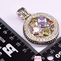 Wholesale Morganite Pendant Silver - 925 sterling Purple Zircon Morganite Peridot Pink Crystal ZirconRed Crystal Zircon 925 Sterling Silver Jewelry Pendant TE647