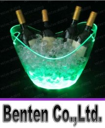 Wholesale Luminous Ice Bucket - plastic champagne led ice bucket,color changing lighted LED ice Tub,luminous ice cooler,glow Beer cask,Cubo de hielo del LED LLFA4386F