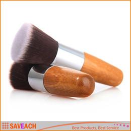Wholesale Wooden Make Up - Professional Makeup Brush Flat Top Brush Foundation Powder beauty Brush Cosmetic Make up brushesTool Wooden Kabuki Make-up Brush