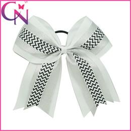 Wholesale Shine Hair Band - Beautiful Baby Girls Layers White Cheer Bows With Elastic Band Shining Organza Chevron Hair Bows For Cheerleading Girls Ponytail Hair Holder